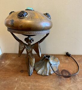 Rare Art Nouveau Auguste Moreau Jeweled Copper Shade Lamp Exemplary Restoration