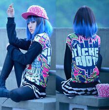 Fashion Black Blue Medium Straight Women Lady Cosplay Anime Hair Wig Wigs + Cap