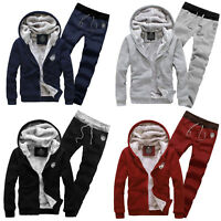 Mens Winter Warm Fleece Lined Jacket Thick Coat Casual Hoodie Sets Top + Pants