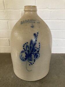 Antique E & L P Norton Bennington, VT Stoneware Jug 2 Gallon Floral Excellent!