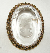 VINTAGE WEST GERMANY INTAGLIO CAMPHOR GLASS CAMEO  BROOCH PIN ETRUSCAN REVIVAL