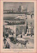 QUEBEC, CANADA, WINTER CARNIVAL, ICE PALACE, CANOE RACE, ICE STATUES, PUB. 1894