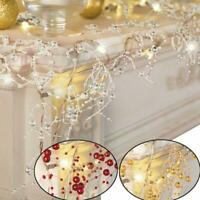 Cordless Lighted Silver Berry-Beaded Holiday Christmas Garland 3 Colors NEW