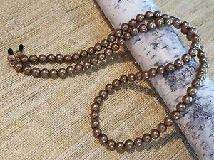 Eyeglass Sun Glass Leash Holder Chain - 8mm Round Chocolate Faux Pearl Beads