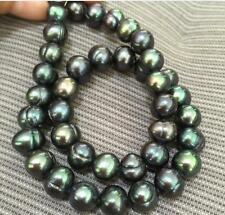 "18"" Charming AAA 11-10mm natural tahitian black green baroque pearl necklace 14k"