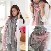 Frauen Lange Punkt gedruckt Warm Ansatz Verpackungs Schal Schal Stola Rosa+Grau