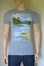 NEW Abercrombie & Fitch Painted Graphic Tee Grey T-Shirt M