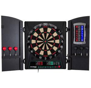 ELECTRONIC DARTBOARD CABINET SET Soft Tip Darts Scoreboard Black Plastic Wood