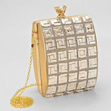 Gold Crystal Pave Hard Case Evening Clutch