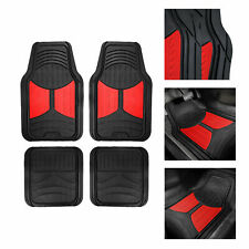 Black Red 2 Tone Floor Mats For Auto Car Suv Van All Weather Universal Fit