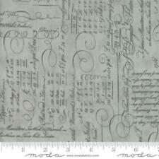 Moda 3 Sisters Quill Script Ledger Fabric in Mist 44152-14