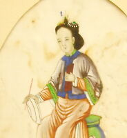 """Young Character Watercolour Xixth on """" Pith Rice Paper Watercolor China c1880"""