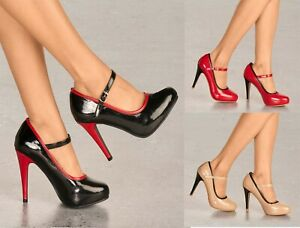 LADIES HIGH HEEL GLOSSY MARY JANE COURT SHOES PUMPS CLASSY OFFICE WORK EVENINGS