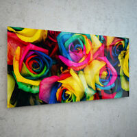 ANY SIZE Wall Art Glass Print Canvas Picture Photo Floral Colourful Roses p28245