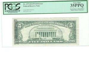 $5 ERROR NOTE certified by PCGS partial face to back offset  GREAT PRICE