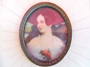 Sublime, Vieux Image __Miniatur-Gemälde__ Portrait Une Dame __