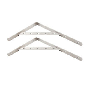 2x Stainless Steel Detachable L Shape Shelf Bracket Wall Mount Bracket