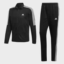 New Adidas men's Tiro Track Suit 3 stripe black white jacket and pant set bk4087