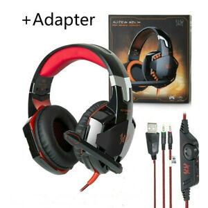 Red Over Ear LED Light 3.5m Wired Stereo Gaming Headset For PS4 Xboxone X 360