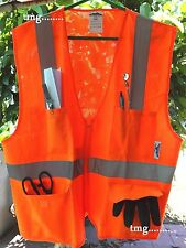 LARGE ORANGE SAFETY VEST 4 POCKET, HIGH VISIBILITY SECURITY MESH BACK, ZIPPER