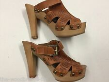 "BNWOB JENNIKA SIZE 6 EU 39 CAMEL LADIES PEEP TOE CUT OUT SLIP ON 5""HEEL SHOES 5M"