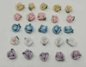 25 pcs Assorted Porcelain Ceramic Roses Flowers Blossoms VTG Cabochon Cameos 6mm