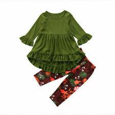 Toddler Kids Baby Girls Outfits Clothes T-shirt Tops Dress+Floral Pants 2PCS Set
