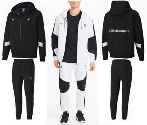 MEN'S PUMA BMW MOTORSPORT FASHION HOODED SWEAT JACKET & PANTS TRACKSUITS BLACK