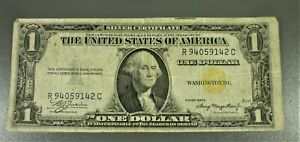 1935-A $1 NORTH AFRICA Yellow Seal Silver Certificate R94059142C