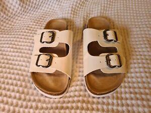 Novo Slip On Sandal Size 8 Aus, White Double Buckle.
