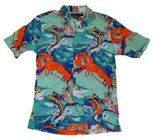 Polo Ralph Lauren Men Hawaiian Sailing Fishing Boat Shirt Green Blue Italy Small