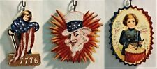 Set of 3, Mini : Uncle Sam, Boy w Drum, Flag * Glitter Patriotic Ornament * Vtg