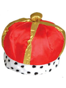 Majestic Renaissance King Queen Red Costume Crown Hat