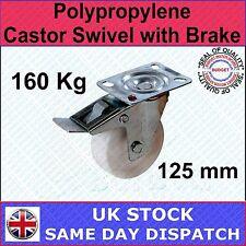 FIXMAN Polypropylene Castor Swivel with Brake 125mm 160kg Ironmongery Cas-144459