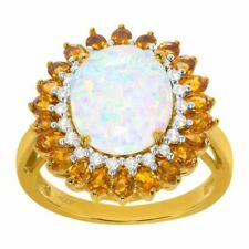 Created Opal White Sapphire & Natural Citrine Ring in 14k Gold Plated Ster