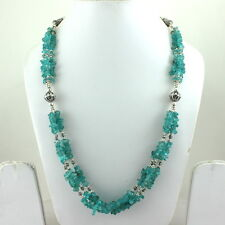 NATURAL BLUE APATITE CHIPS GEMSTONE BEADED NECKLACE 79 GRAMS