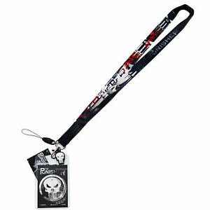 Marvel Punisher Lanyard w/ ID Badge Holder Cell Phone Loop Skull Charm Official