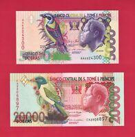 Saint Thomas & Prince UNC Notes: 5000 Dobras 2013 P-65, & 20000 Dobras 2004 P-67