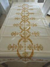 New listing Vintage Linen Tablecloth Cross Stitch Needlepoint Rectangle Perfect! Elegant!