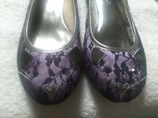 Mudd Kitty Cat Flats Slippers Purple And Lace Size 9M Faux Shearling Lined
