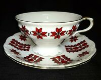 Edelstein China Tea Cup and Saucer Set ~Maria Theresia Pattern~ Bavaria, GERMANY