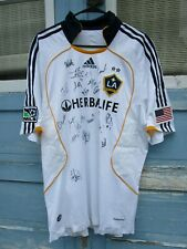 NWT La Galaxy Jersey White Signed by Team MLS Soccer California Adidas Autograph