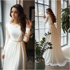 Simple Elegant Wedding Dresses Bridal Long Sleeves Sweep Train Backless Custom