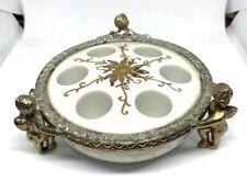 Vintage Ormolu Cherub White Porcelain Gilt & Roses Lipstick Holder Glam