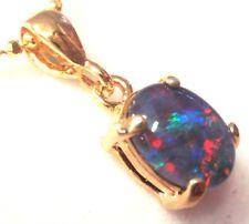Mother's Day Australian Fire Opal Natural Black Triplet Opal Pendant Birth Stone