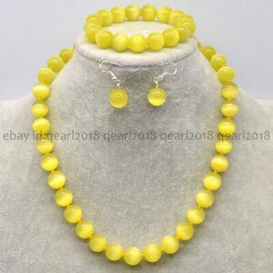 Multi-Color 10/12/14mm Opal Cat's Eye Round Beads Necklace Bracelet Earrings Set