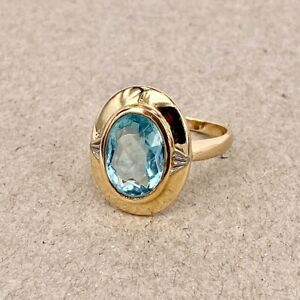 Blue Topaz 14ct Yellow Gold - Oval Vintage Cocktail Dress Ring 585 Continental