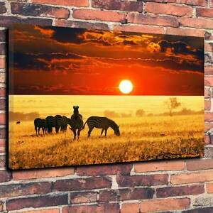 """Beautiful Tranquil African Sunset Printed Canvas A1.30""""x20""""~Deep 30mm Frame V3"""