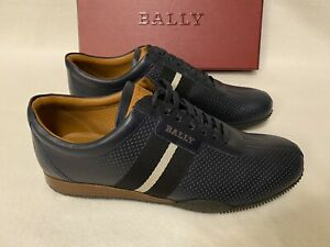 Bally Halvin New Blue Calf Perforated Leather Sneakers UK 9 US10 EU 43 RRP £350+