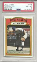 1972 Topps #446 TOM SEAVER, PSA  8 NM-MT,  IN ACTION,  HOF, NEW YORK METS,  L@@K